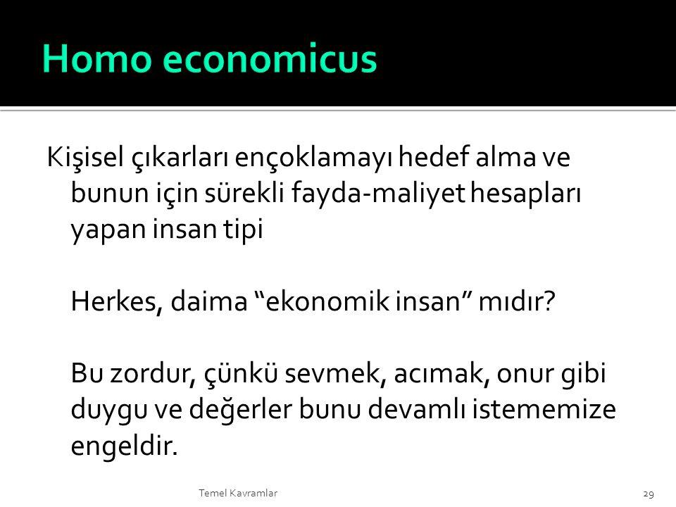 Homo economicus Kişisel çıkarları ençoklamayı hedef alma ve bunun için sürekli fayda-maliyet hesapları yapan insan tipi.