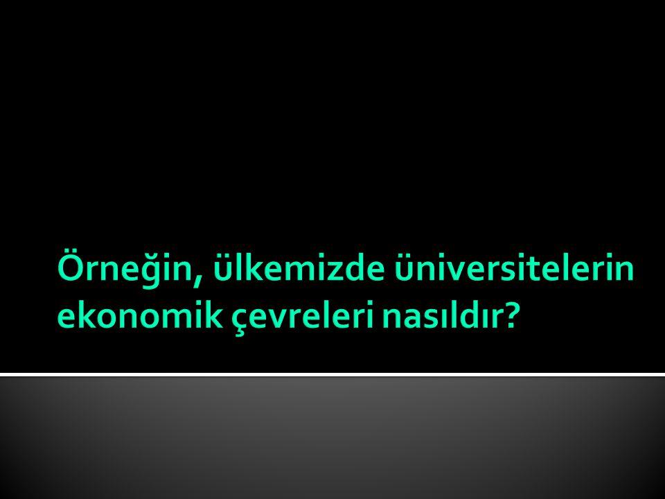 Örneğin, ülkemizde üniversitelerin ekonomik çevreleri nasıldır