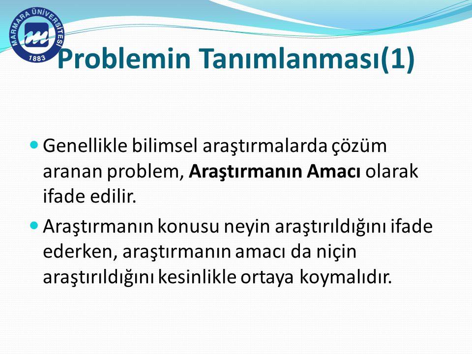 Problemin Tanımlanması(1)