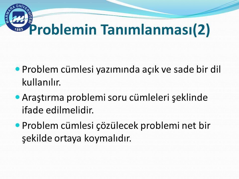 Problemin Tanımlanması(2)