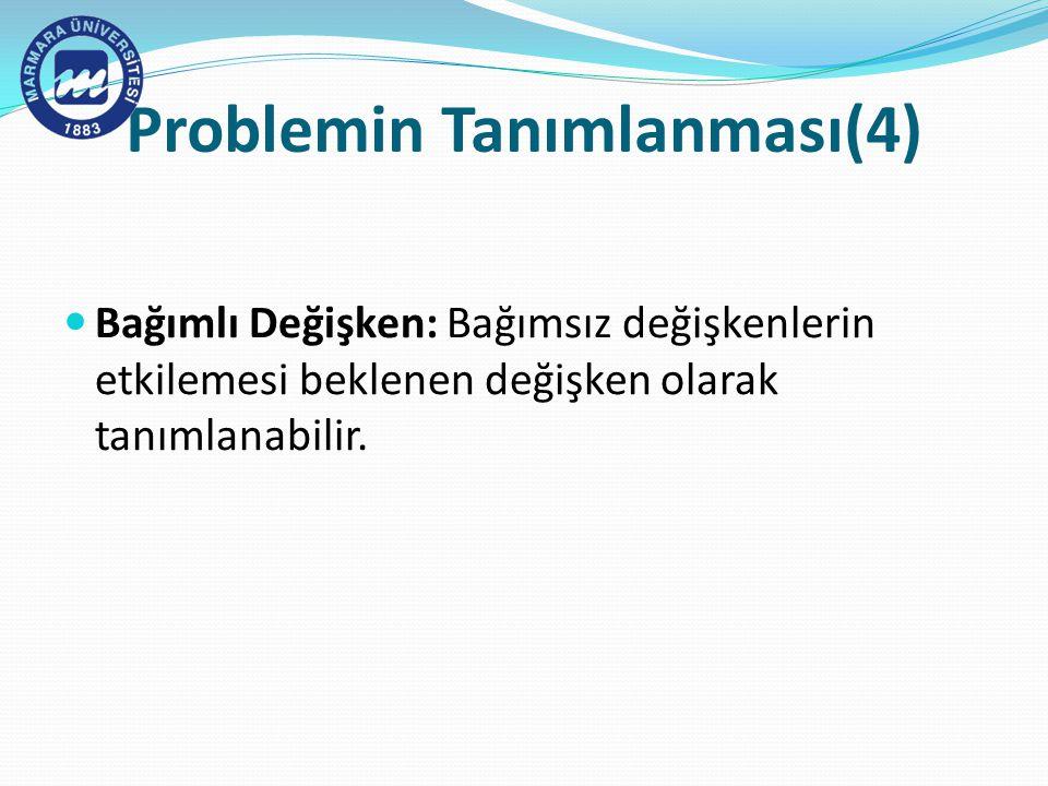 Problemin Tanımlanması(4)