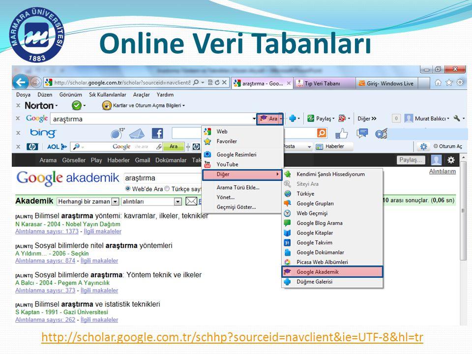Online Veri Tabanları http://scholar.google.com.tr/schhp sourceid=navclient&ie=UTF-8&hl=tr