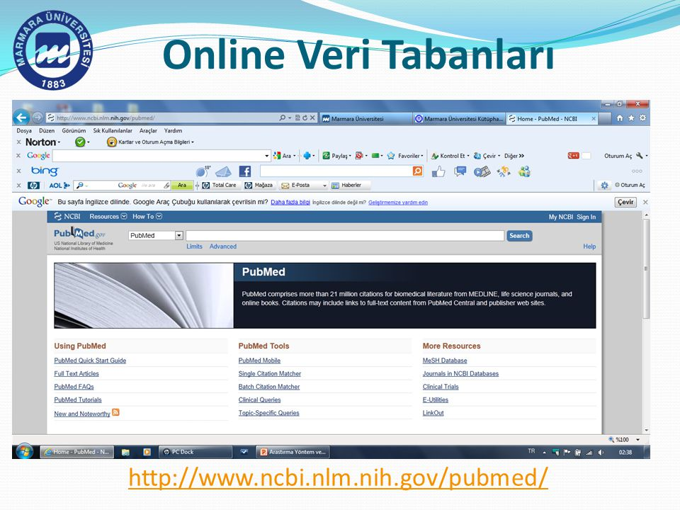 Online Veri Tabanları http://www.ncbi.nlm.nih.gov/pubmed/