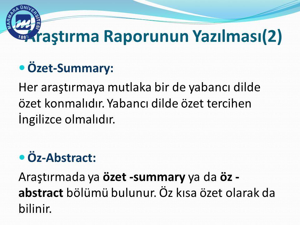 Araştırma Raporunun Yazılması(2)