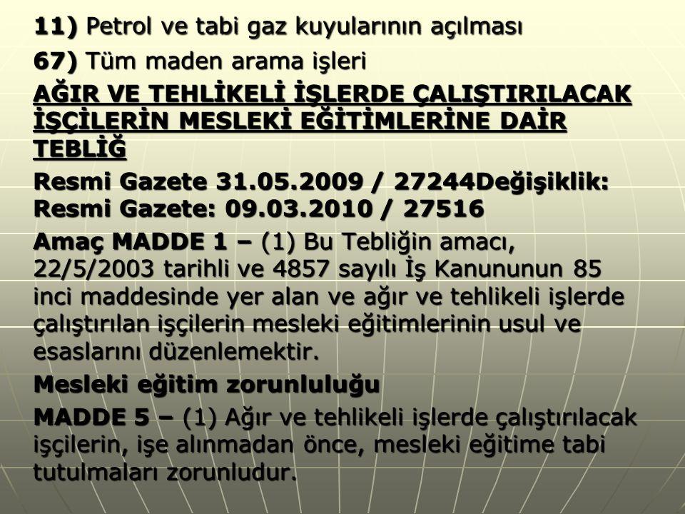 11) Petrol ve tabi gaz kuyularının açılması
