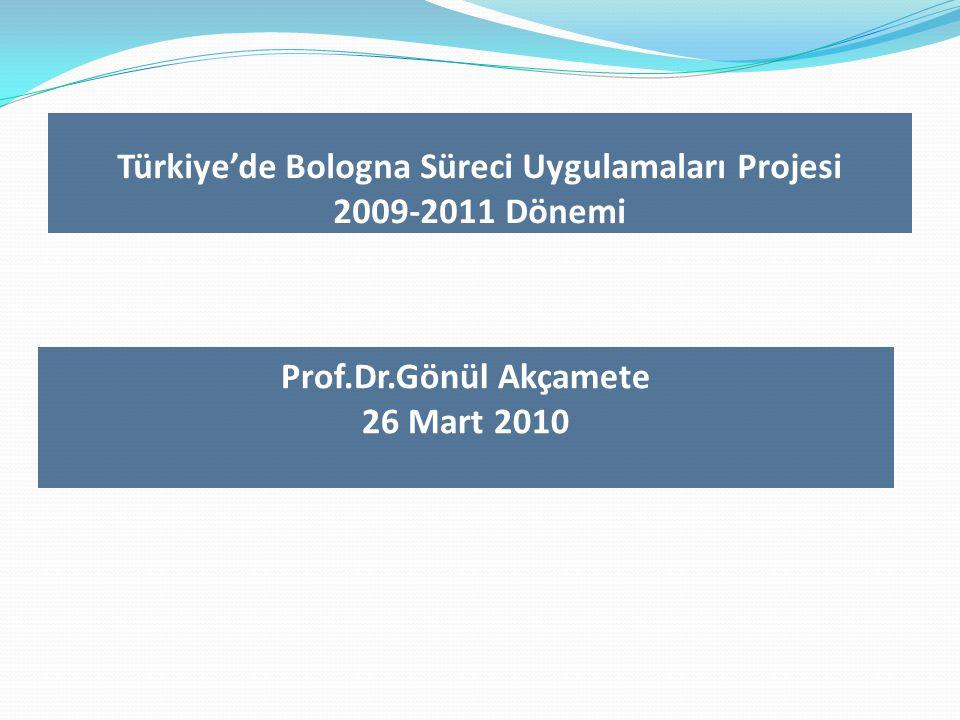 Türkiye'de Bologna Süreci Uygulamaları Projesi 2009-2011 Dönemi