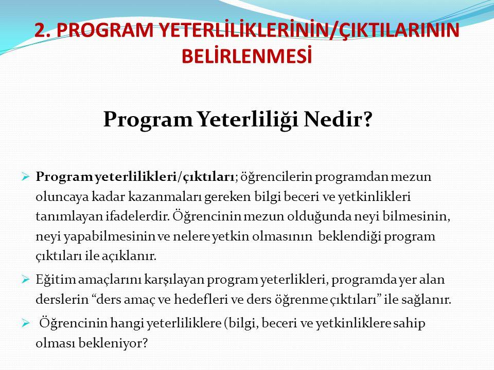 2. PROGRAM YETERLİLİKLERİNİN/ÇIKTILARININ BELİRLENMESİ