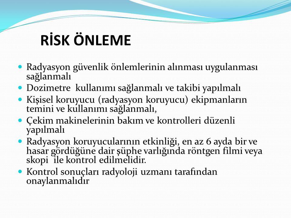RİSK ÖNLEME Radyasyon güvenlik önlemlerinin alınması uygulanması sağlanmalı. Dozimetre kullanımı sağlanmalı ve takibi yapılmalı.