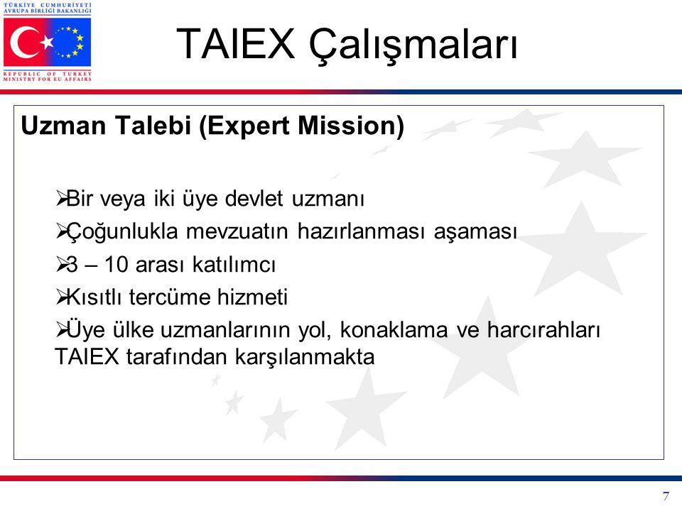 TAIEX Çalışmaları Uzman Talebi (Expert Mission)