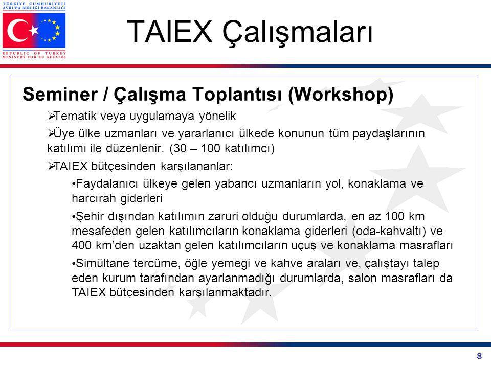 TAIEX Çalışmaları Seminer / Çalışma Toplantısı (Workshop)