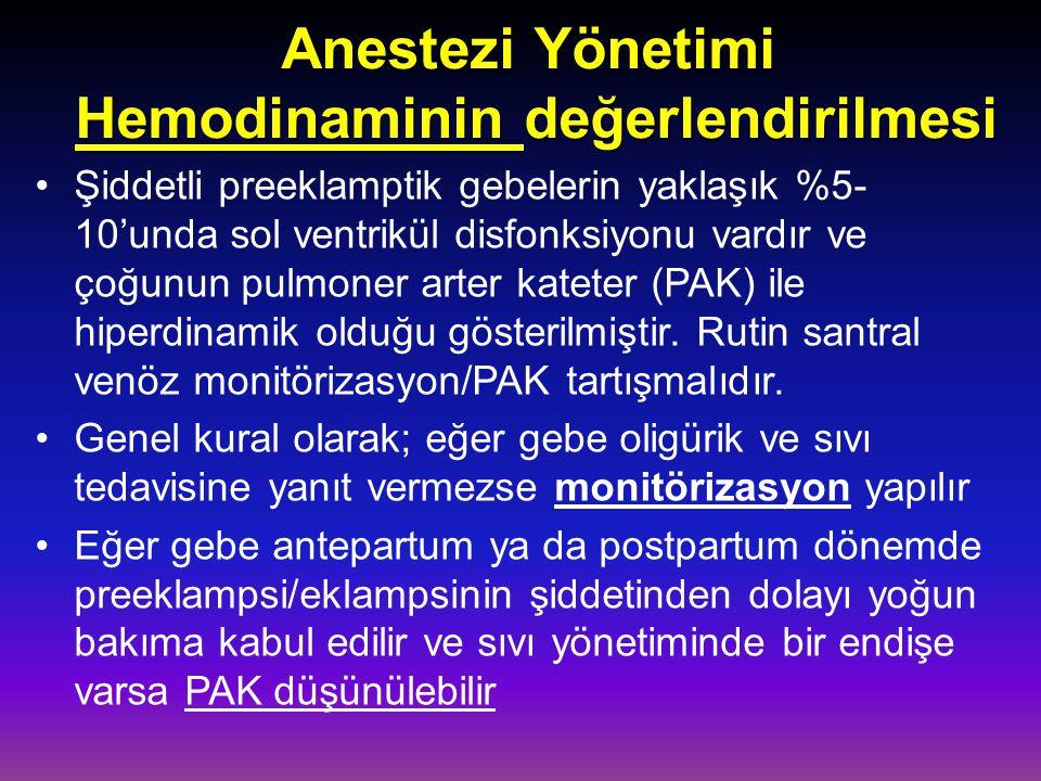 Anestezi Yönetimi Hemodinaminin değerlendirilmesi