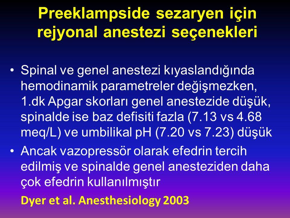 Preeklampside sezaryen için rejyonal anestezi seçenekleri