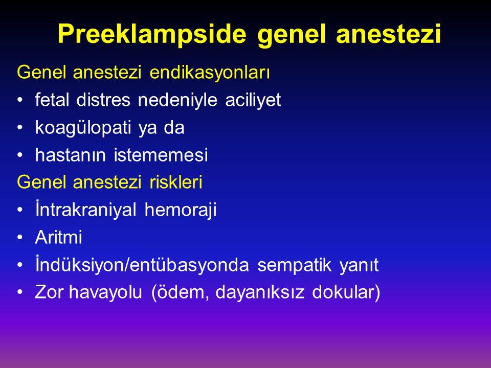Preeklampside genel anestezi