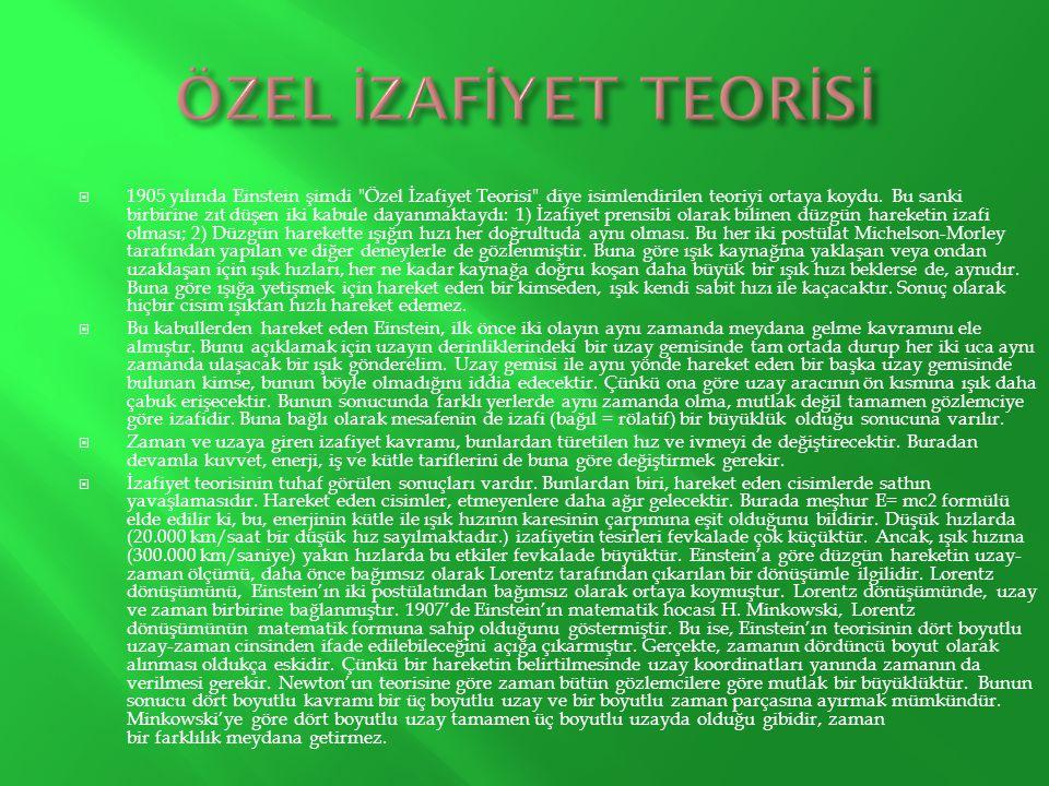 ÖZEL İZAFİYET TEORİSİ