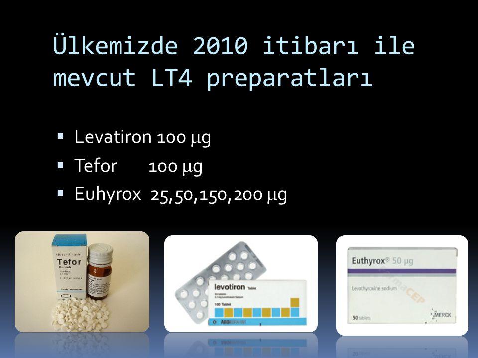 Ülkemizde 2010 itibarı ile mevcut LT4 preparatları