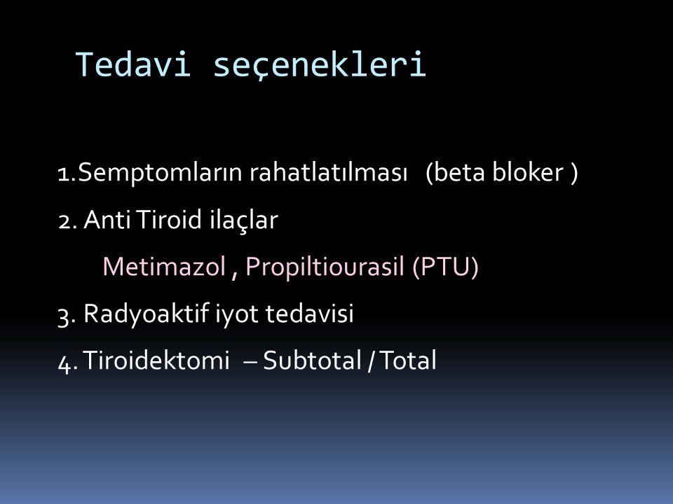 Tedavi seçenekleri 1.Semptomların rahatlatılması (beta bloker )