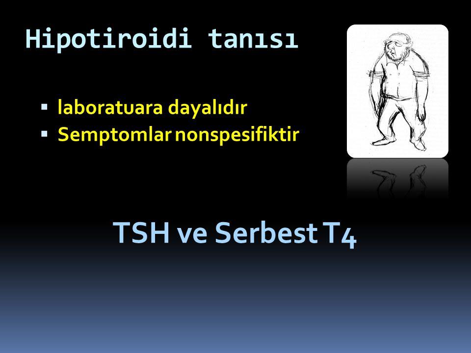 TSH ve Serbest T4 Hipotiroidi tanısı laboratuara dayalıdır