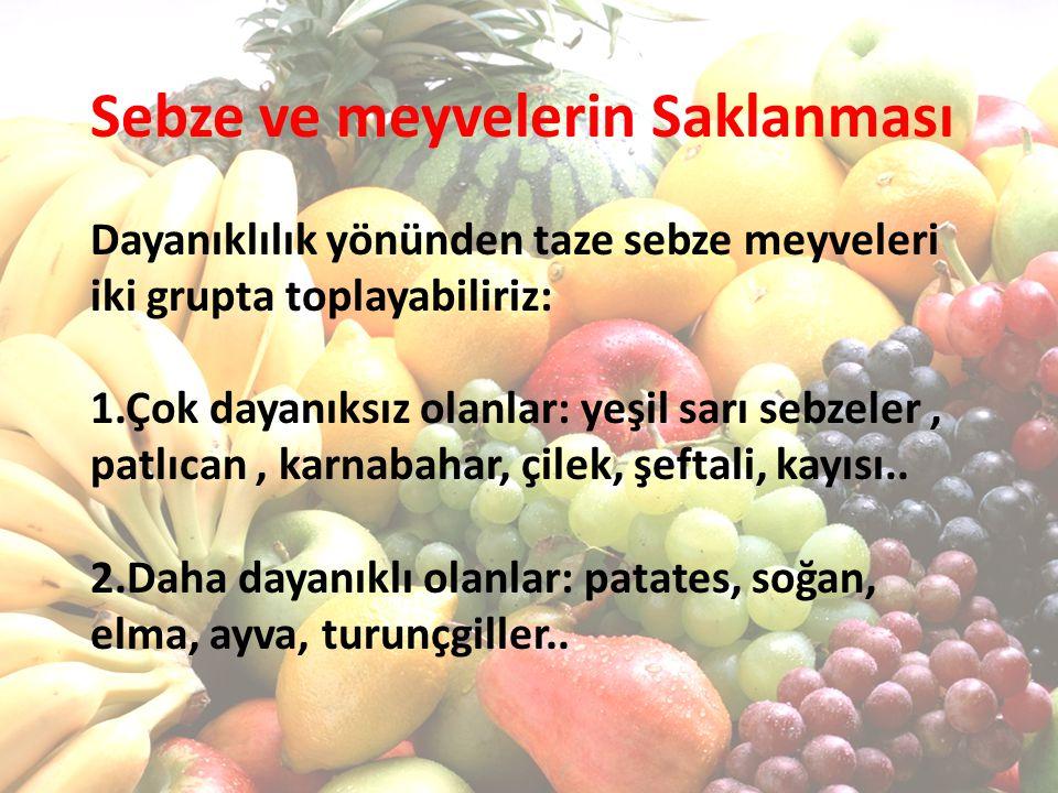 Sebze ve meyvelerin Saklanması