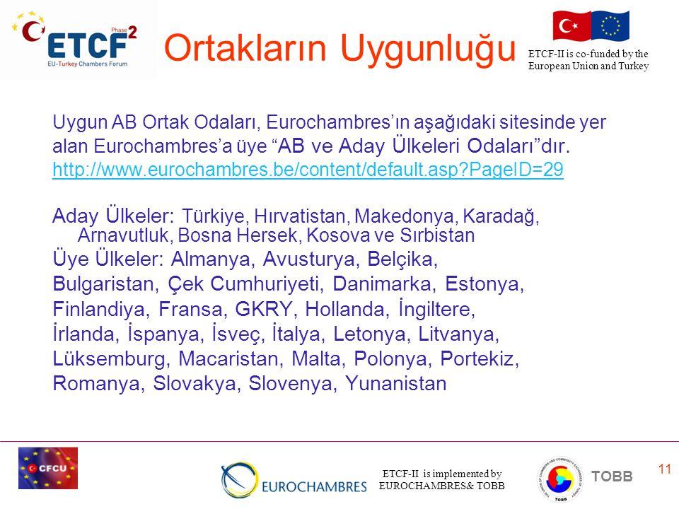 Ortakların Uygunluğu Uygun AB Ortak Odaları, Eurochambres'ın aşağıdaki sitesinde yer. alan Eurochambres'a üye AB ve Aday Ülkeleri Odaları dır.