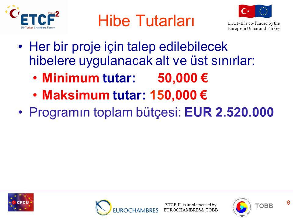 Hibe Tutarları Her bir proje için talep edilebilecek hibelere uygulanacak alt ve üst sınırlar: Minimum tutar: 50,000 €