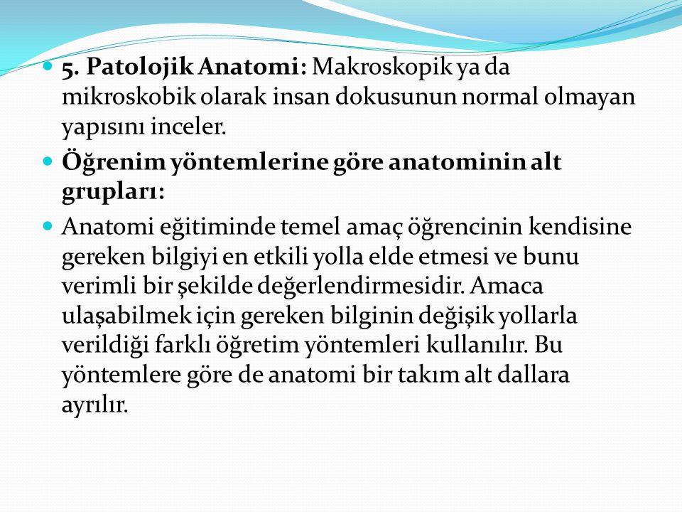 5. Patolojik Anatomi: Makroskopik ya da mikroskobik olarak insan dokusunun normal olmayan yapısını inceler.