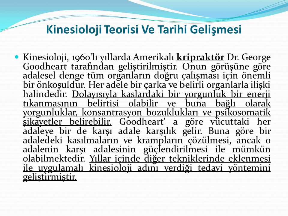 Kinesioloji Teorisi Ve Tarihi Gelişmesi