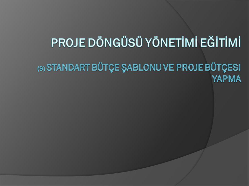 PROJE DÖNGÜSÜ YÖNETİMİ EĞİTİMİ (9) standart bütçe şablonu ve proje bütçesi yapma