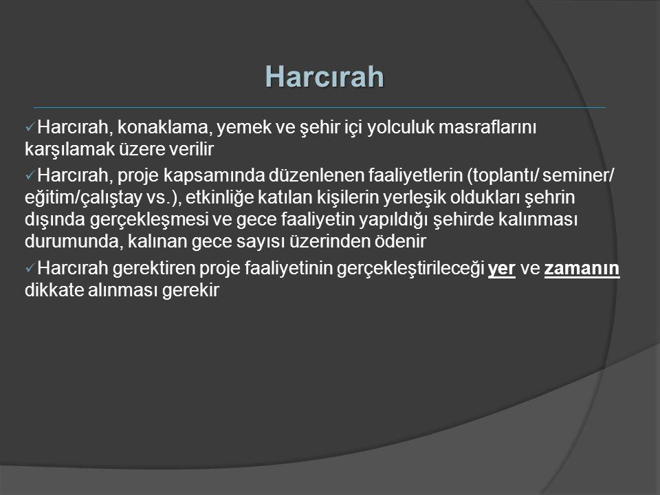Harcırah Harcırah, konaklama, yemek ve şehir içi yolculuk masraflarını karşılamak üzere verilir.