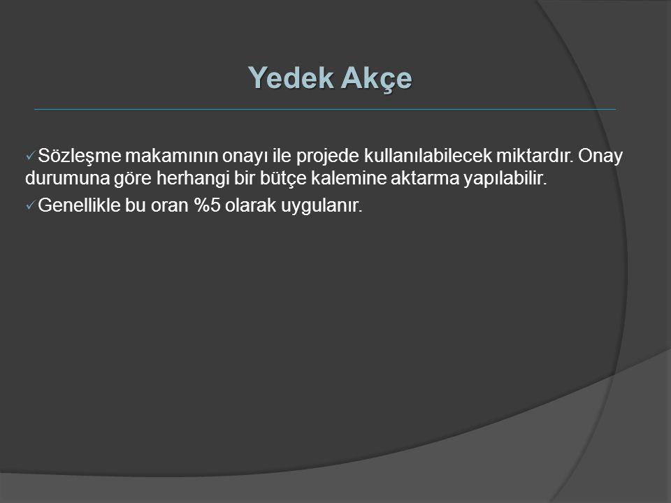 Yedek Akçe Sözleşme makamının onayı ile projede kullanılabilecek miktardır. Onay durumuna göre herhangi bir bütçe kalemine aktarma yapılabilir.