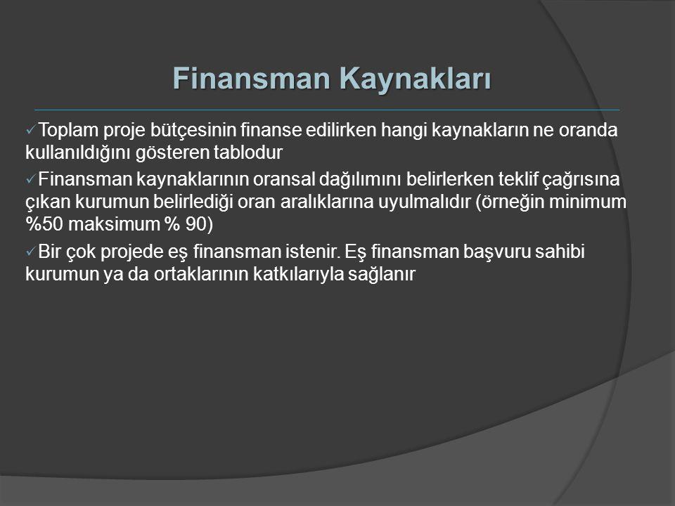 Finansman Kaynakları Toplam proje bütçesinin finanse edilirken hangi kaynakların ne oranda kullanıldığını gösteren tablodur.