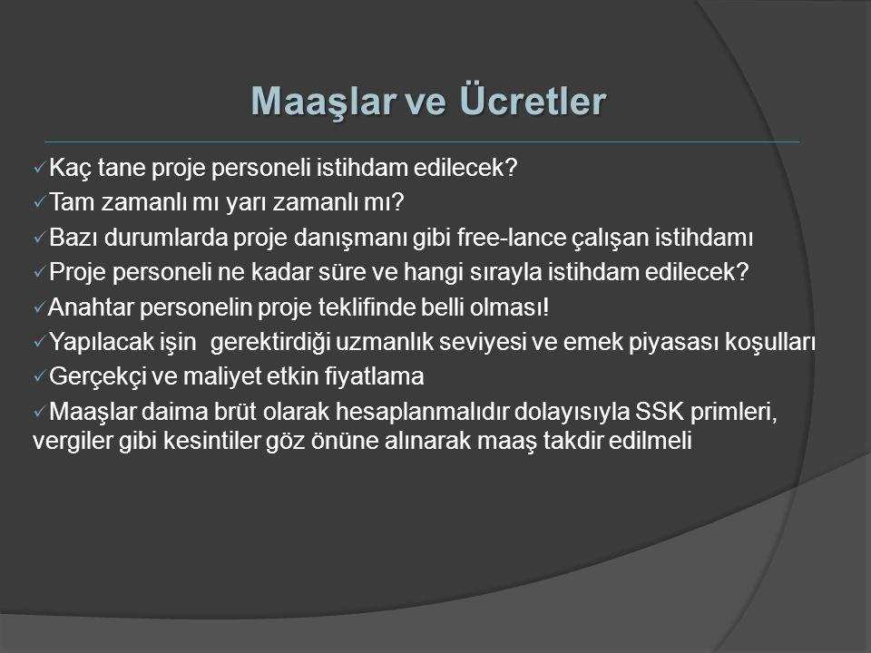 Maaşlar ve Ücretler Kaç tane proje personeli istihdam edilecek