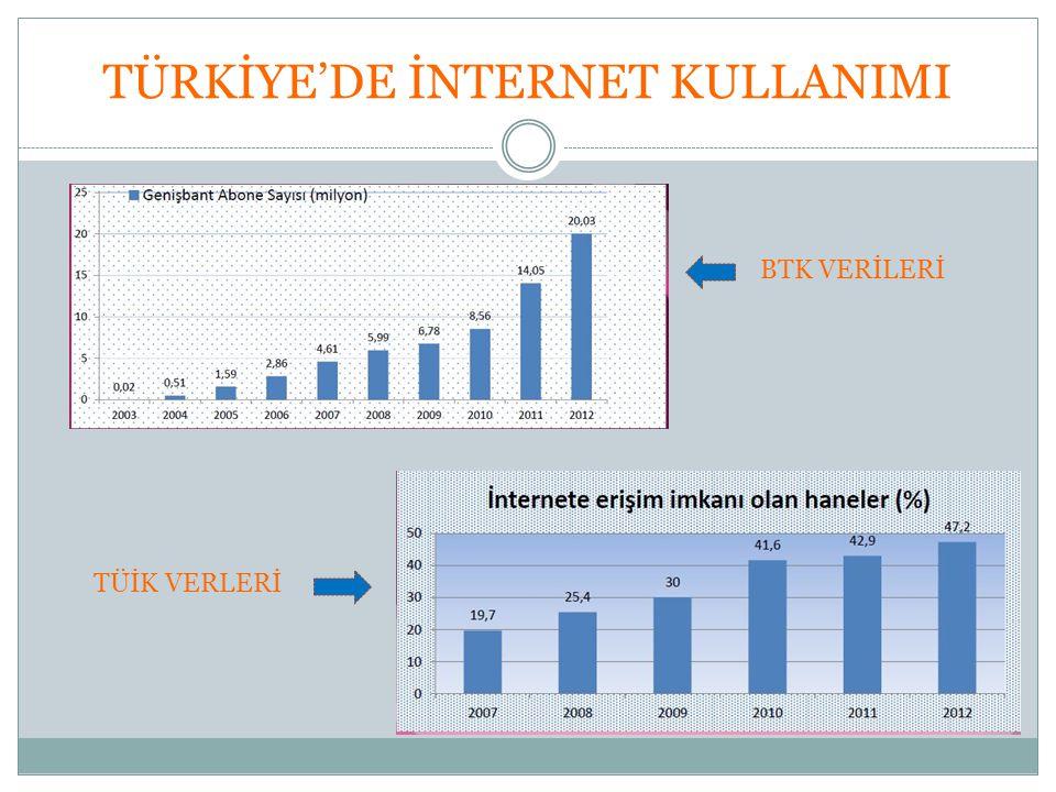 TÜRKİYE'DE İNTERNET KULLANIMI