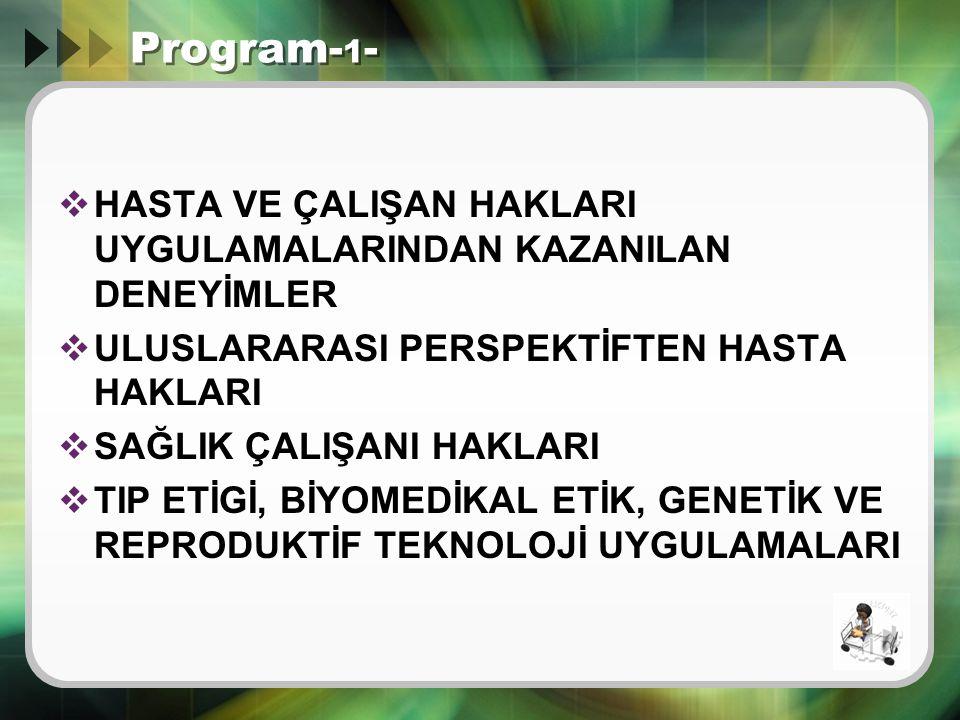 Program-1- HASTA VE ÇALIŞAN HAKLARI UYGULAMALARINDAN KAZANILAN DENEYİMLER. ULUSLARARASI PERSPEKTİFTEN HASTA HAKLARI.