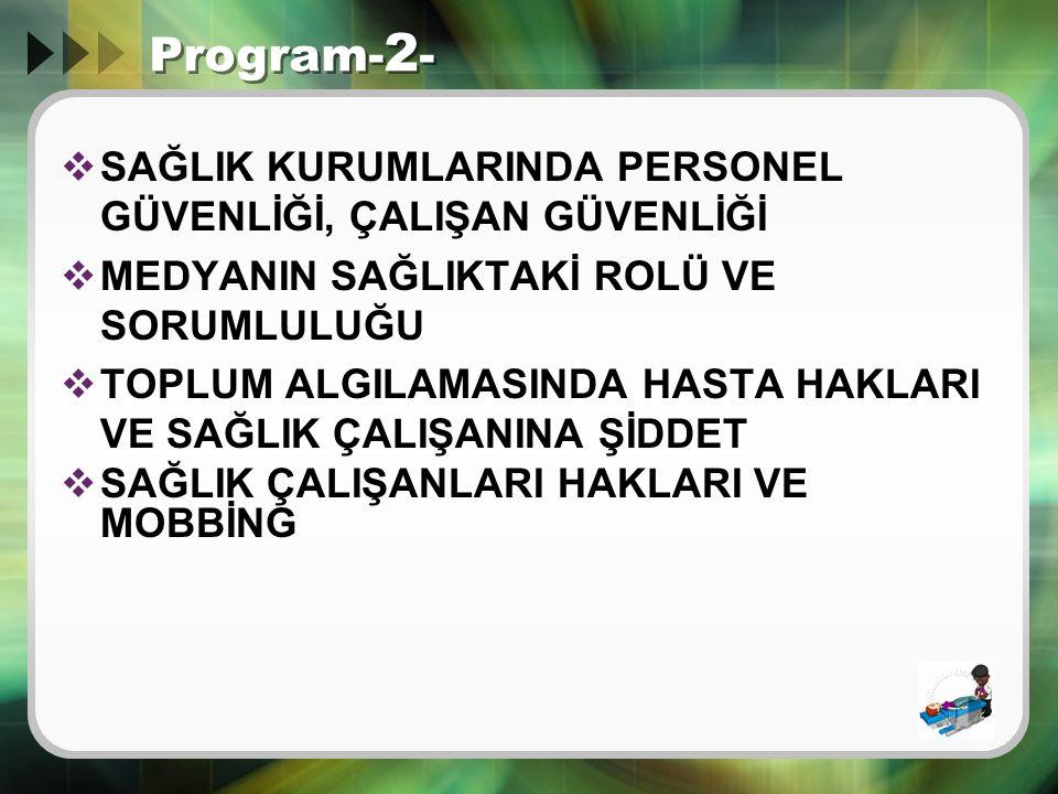 Program-2- SAĞLIK KURUMLARINDA PERSONEL GÜVENLİĞİ, ÇALIŞAN GÜVENLİĞİ