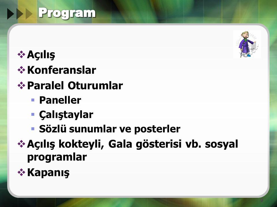 Program Açılış Konferanslar Paralel Oturumlar