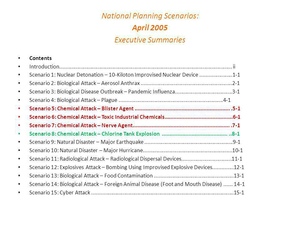 National Planning Scenarios: