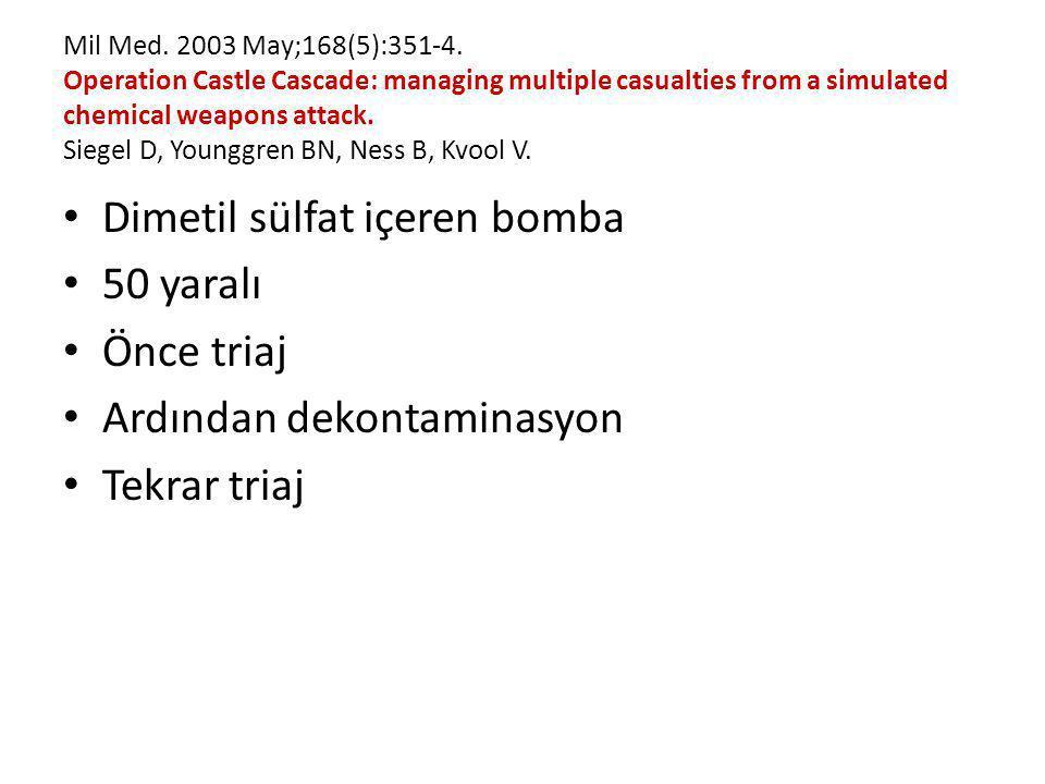 Dimetil sülfat içeren bomba 50 yaralı Önce triaj