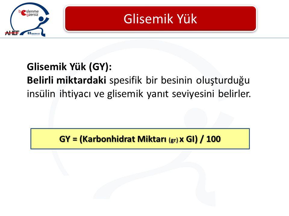 GY = (Karbonhidrat Miktarı (gr) x GI) / 100