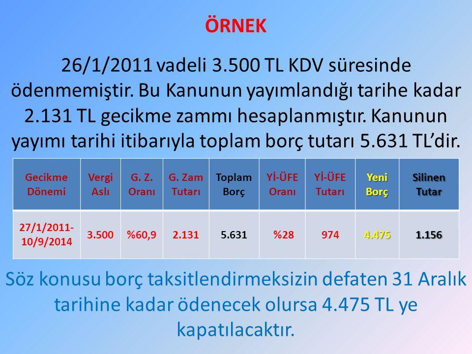 ÖRNEK 26/1/2011 vadeli 3. 500 TL KDV süresinde ödenmemiştir