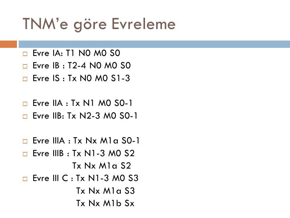 TNM'e göre Evreleme Evre IA: T1 N0 M0 S0 Evre IB : T2-4 N0 M0 S0
