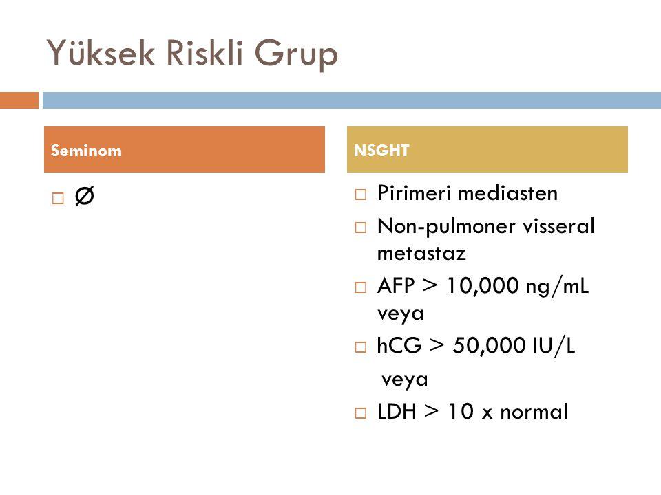 Yüksek Riskli Grup Ø Pirimeri mediasten Non-pulmoner visseral metastaz