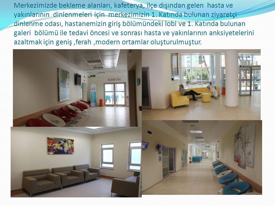 Merkezimizde bekleme alanları, kafeterya, ilçe dışından gelen hasta ve yakınlarının dinlenmeleri için merkezimizin 1.