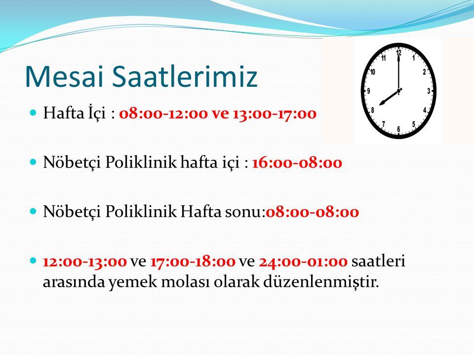 Mesai Saatlerimiz Hafta İçi : 08:00-12:00 ve 13:00-17:00