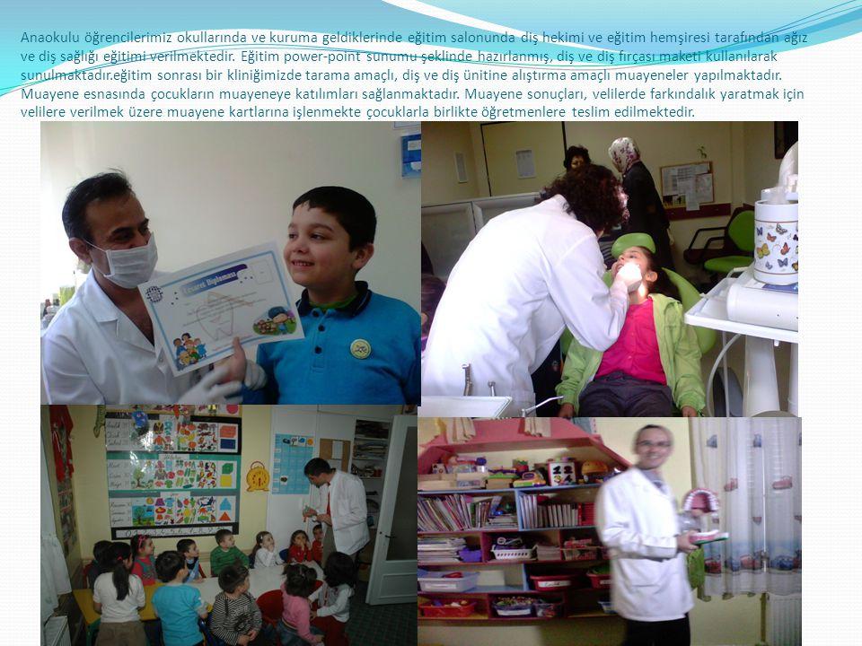 Anaokulu öğrencilerimiz okullarında ve kuruma geldiklerinde eğitim salonunda diş hekimi ve eğitim hemşiresi tarafından ağız ve diş sağlığı eğitimi verilmektedir.