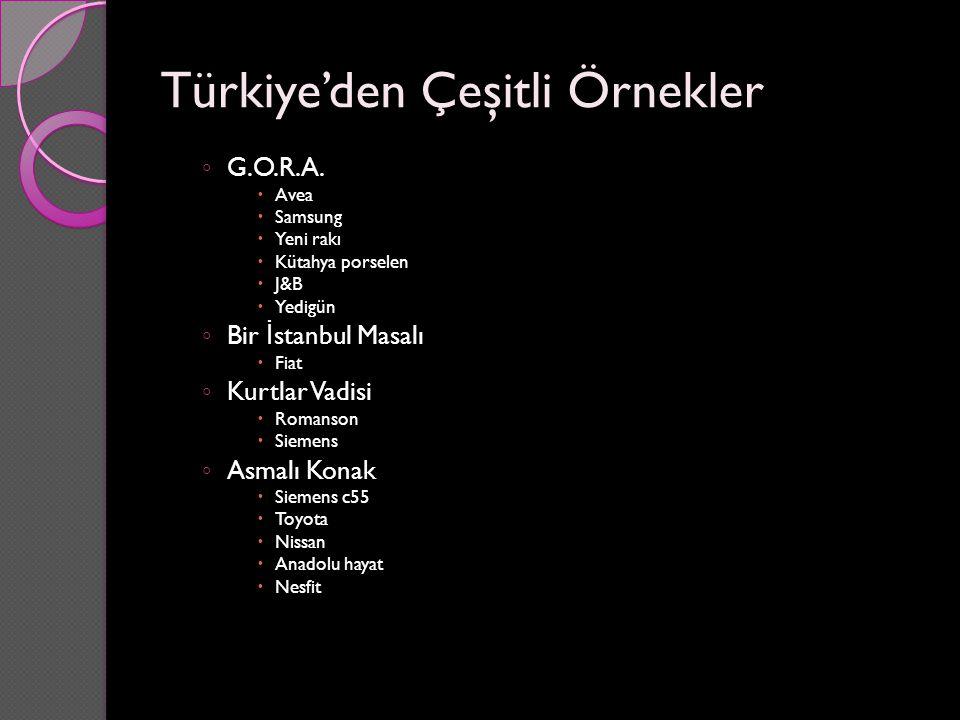 Türkiye'den Çeşitli Örnekler