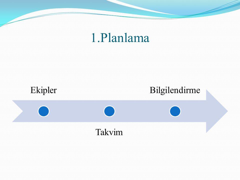 1.Planlama Ekipler Takvim Bilgilendirme