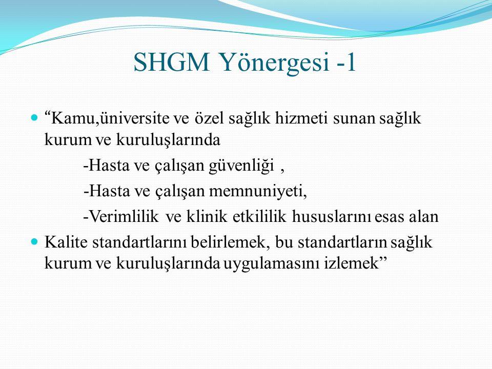 SHGM Yönergesi -1 Kamu,üniversite ve özel sağlık hizmeti sunan sağlık kurum ve kuruluşlarında. -Hasta ve çalışan güvenliği ,