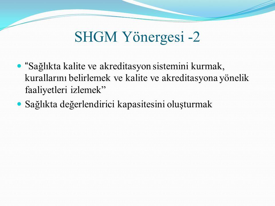 SHGM Yönergesi -2 Sağlıkta kalite ve akreditasyon sistemini kurmak, kurallarını belirlemek ve kalite ve akreditasyona yönelik faaliyetleri izlemek