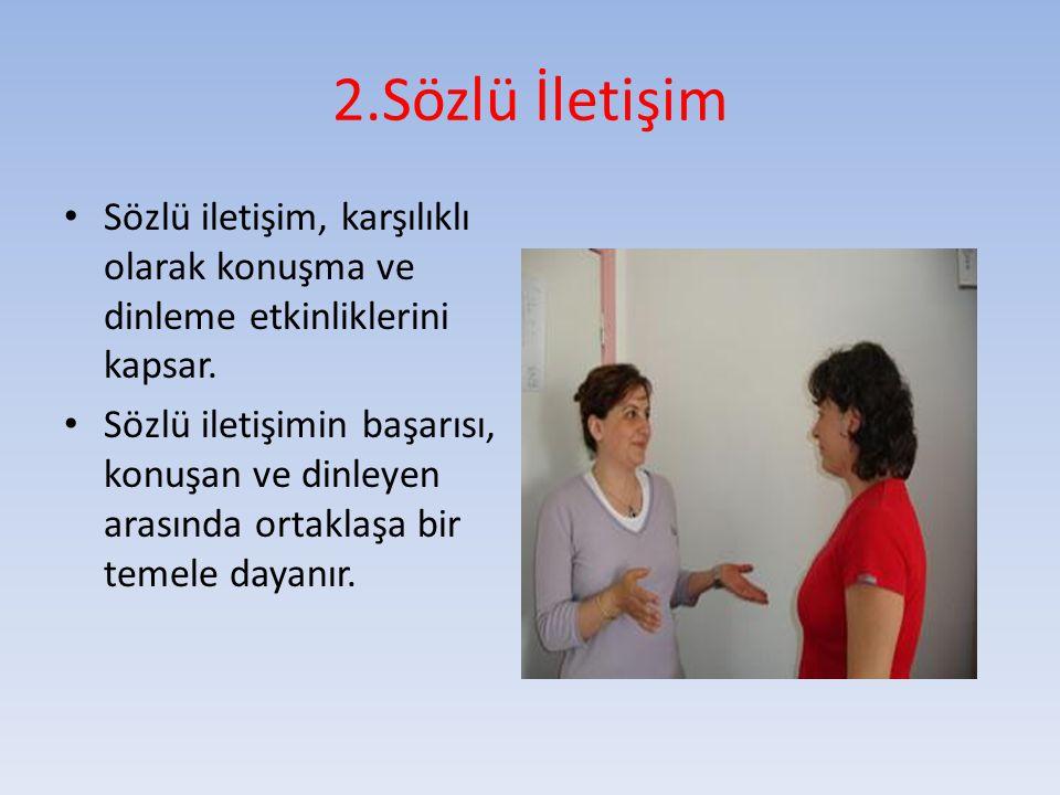 2.Sözlü İletişim Sözlü iletişim, karşılıklı olarak konuşma ve dinleme etkinliklerini kapsar.