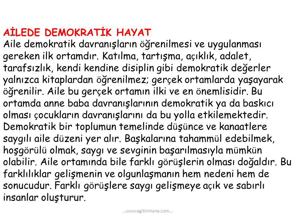 AİLEDE DEMOKRATİK HAYAT